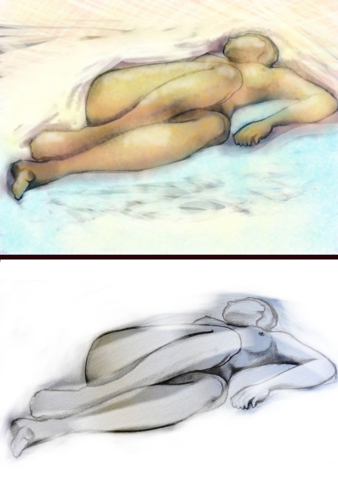Life drawing composition finished on ipad with Brushes App