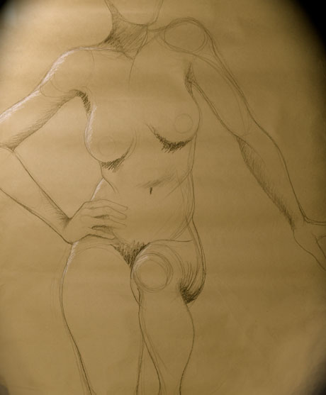 Charcoal on brown paper, circa 1989