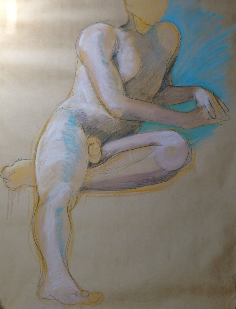 Charcoal & pastel on brown paper, circa 1989
