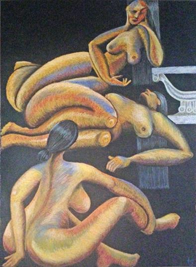 3 women pastel